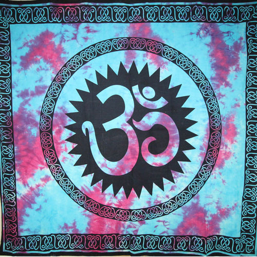 Blue & Purple Decorative Om Shanti Tie Dye Art Tapestry
