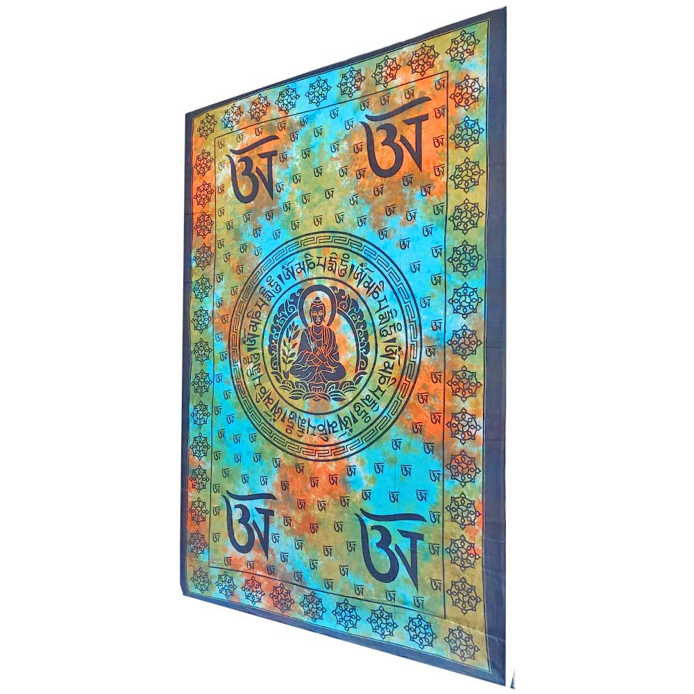 Blue and Orange Buddhist Om Symbol Tapestry Wall Hanging with Seven Chakra Symbol Border | Wild Lotus® | @wildlotusbrand