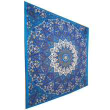 Load image into Gallery viewer, Blue Chakra Star Sign Indian Elephant Mandala Full Size Wall Tapestry Hanging | @wildlotusbrand