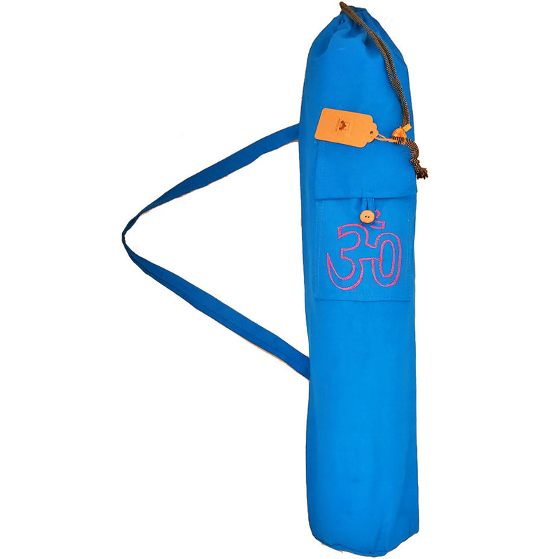 Blue Cotton Hindu Sanskrit Aum Yoga Mat Bag Carrier with Front Pocket