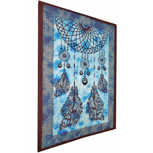 Blue Dreamcatcher Artwork Tie Dye Pictorial Cotton Tapestry Wall Hanging | @wildlotusbrand | Wild Lotus®