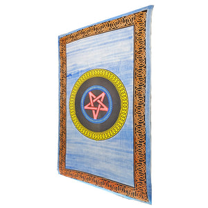 Blue Geometric Star Frame Brushstroke Pattern Tapestry Coverlet | Wild Lotus® | @wildlotusbrand