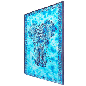 Blue Indian Bohemian Elephant Tapestry Psychedelic Wall Hanging Decoration