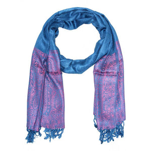 Blue Paisley Pattern Print Tassel Scarf with Pink Border