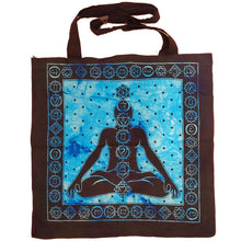 Load image into Gallery viewer, Blue Seven Chakras Avatar Meditation Tie Dye Market Tote Bag Canvas Graphic