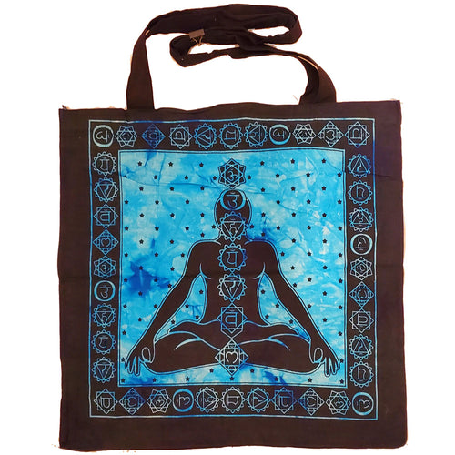 Blue Seven Chakras Avatar Meditation Tie Dye Market Tote Bag Canvas Graphic