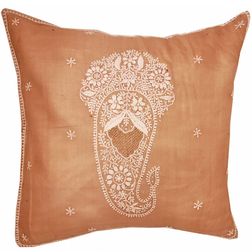 Brinda Embroidery Design Silk Fabric Cushion Cover Design Home Accent Furnishing - 16