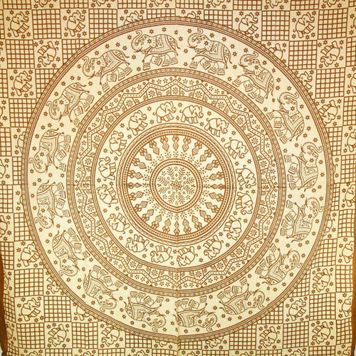 Brown Baby Elephant Mandala Tapestry