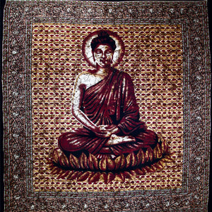 Brown Buddha In Meditation Batik Style Tapestry