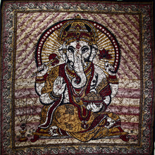 Load image into Gallery viewer, Brown Ganesha Holding Lotus Flower In Batik Style Tie Dye Tapestry