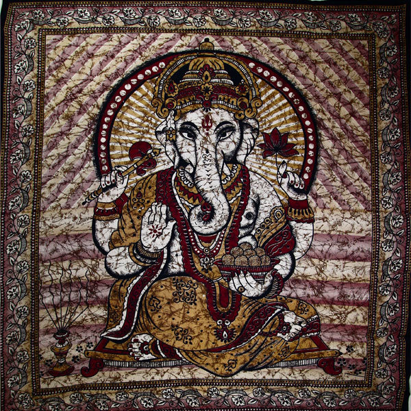 Brown Ganesha Holding Lotus Flower In Batik Style Tie Dye Tapestry