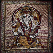 Load image into Gallery viewer, Ganesha Holding Lotus Flower In Batik Style Tie Dye Tapestry