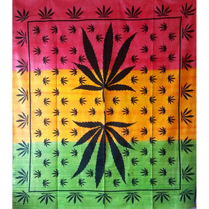 Brushstroke Marijuana Leaf Mirror Art Design Tapestry Wall Hanging | @wildlotusbrand | Wild Lotus®