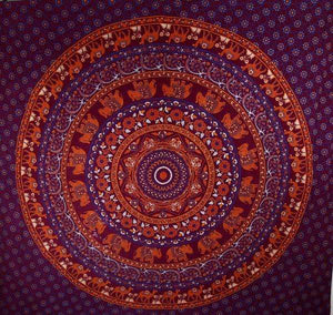Purple Elephants & Camels Mandala Tapestry