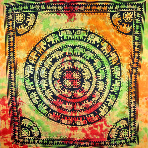 Celebration Of Elephants Rasta Mandala Tie Dye Tapestry