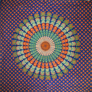 Dark Blue Peacock Dance Mandala Tapestry