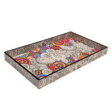 Load image into Gallery viewer, Dual Theme Doodle Art Pattern Laminated Paisley Mandala Design Wood Tray | Wild Lotus®