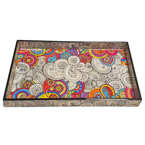 Dual Theme Doodle Art Pattern Laminated Paisley Mandala Design Wood Tray