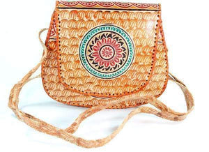Fire Flower Leather Mandala Purse