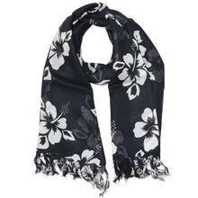 Load image into Gallery viewer, Black Floral Pattern Pareo Beach Hawaiian Sarong Scarf | Wild Lotus® | @wildlotusbrand