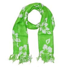 Load image into Gallery viewer, Green Floral Pattern Pareo Beach Hawaiian Sarong Scarf | Wild Lotus® | @wildlotusbrand