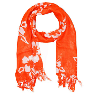 Orange Floral Pattern Pareo Beach Hawaiian Sarong Scarf