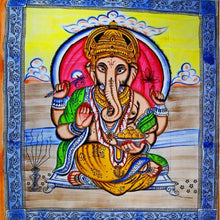 Load image into Gallery viewer, Ganesha Holding Lotus Flower In Pastels With Tassels Tapestry with Blue Border