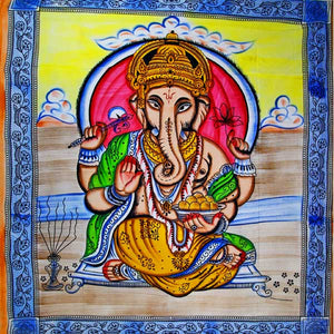 Ganesha Holding Lotus Flower In Pastels With Tassels Tapestry with Blue Border