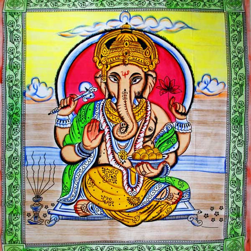 Ganesha Holding Lotus Flower In Pastels With Tassels Tapestry with Green Border