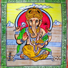 Load image into Gallery viewer, Ganesha Holding Lotus Flower In Pastels With Tassels Tapestry with Green Border
