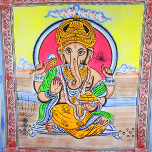 Ganesha Holding Lotus Flower In Pastels With Tassels Tapestry with Red Border