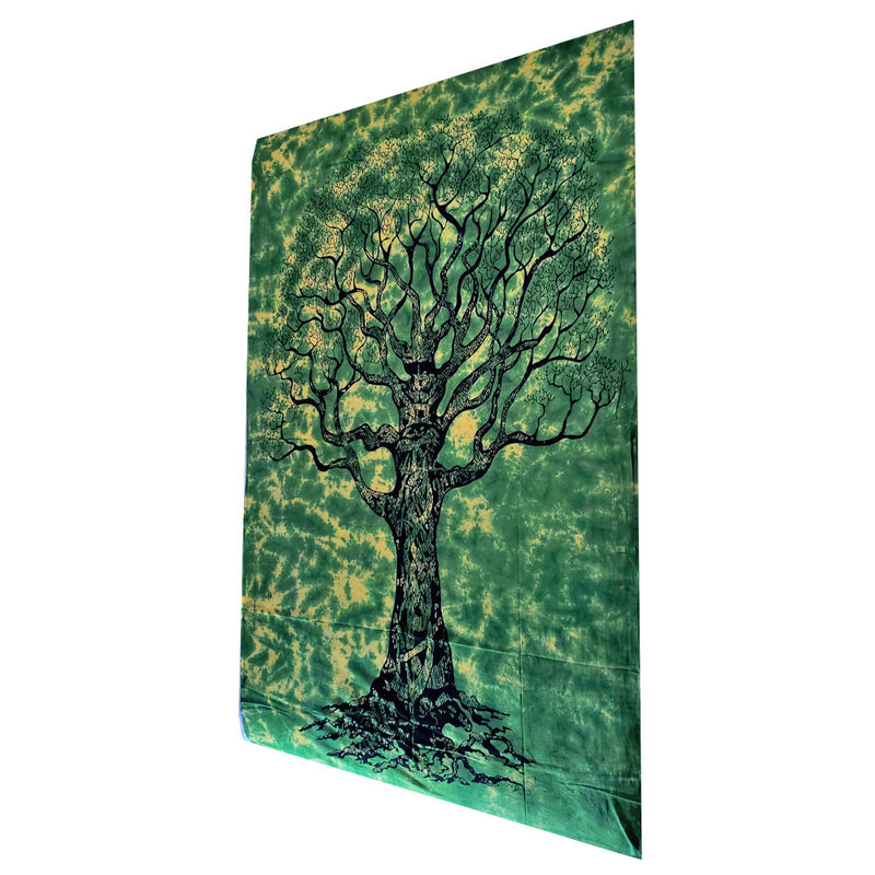 Green Celtic Knot Tree Of Life Tie Dye Twin Size Tapestry | Wild Lotus® | @wildlotusbrand