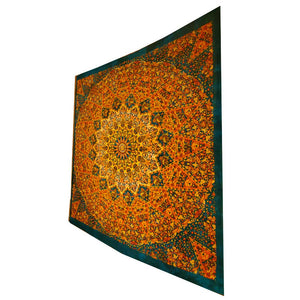 Green Chakra Star Sign Indian Elephant Mandala Full Size Wall Tapestry Hanging | Wild Lotus®