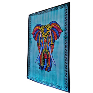 Green Indian Bohemian Elephant Brushstroke Art Tapestry Wall Hanging Decoration | Wild Lotus®