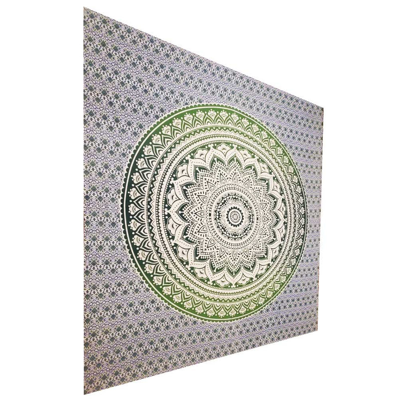 Green Ombre Art Pattern Full Size Sheet Tapestry Wall Hanging Decoration | Wild Lotus® | @wildlotusbrand
