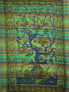 Green Tree of Life Birds Art in Hand-loom Tapestry