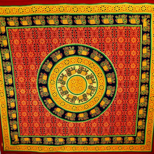 Green & Orange Bagru Elephant Mandala Tapestry