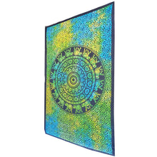 Load image into Gallery viewer, Green Chakra Star Elephant Mandala Tie Dye Tapestry | Wild Lotus®