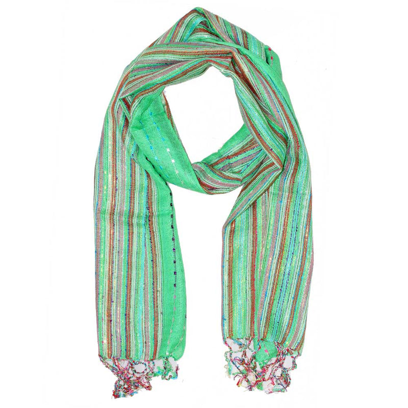 Green Cotton Lurex Shimmering Stripes Scarf | Wild Lotus® | @wildlotusbrand