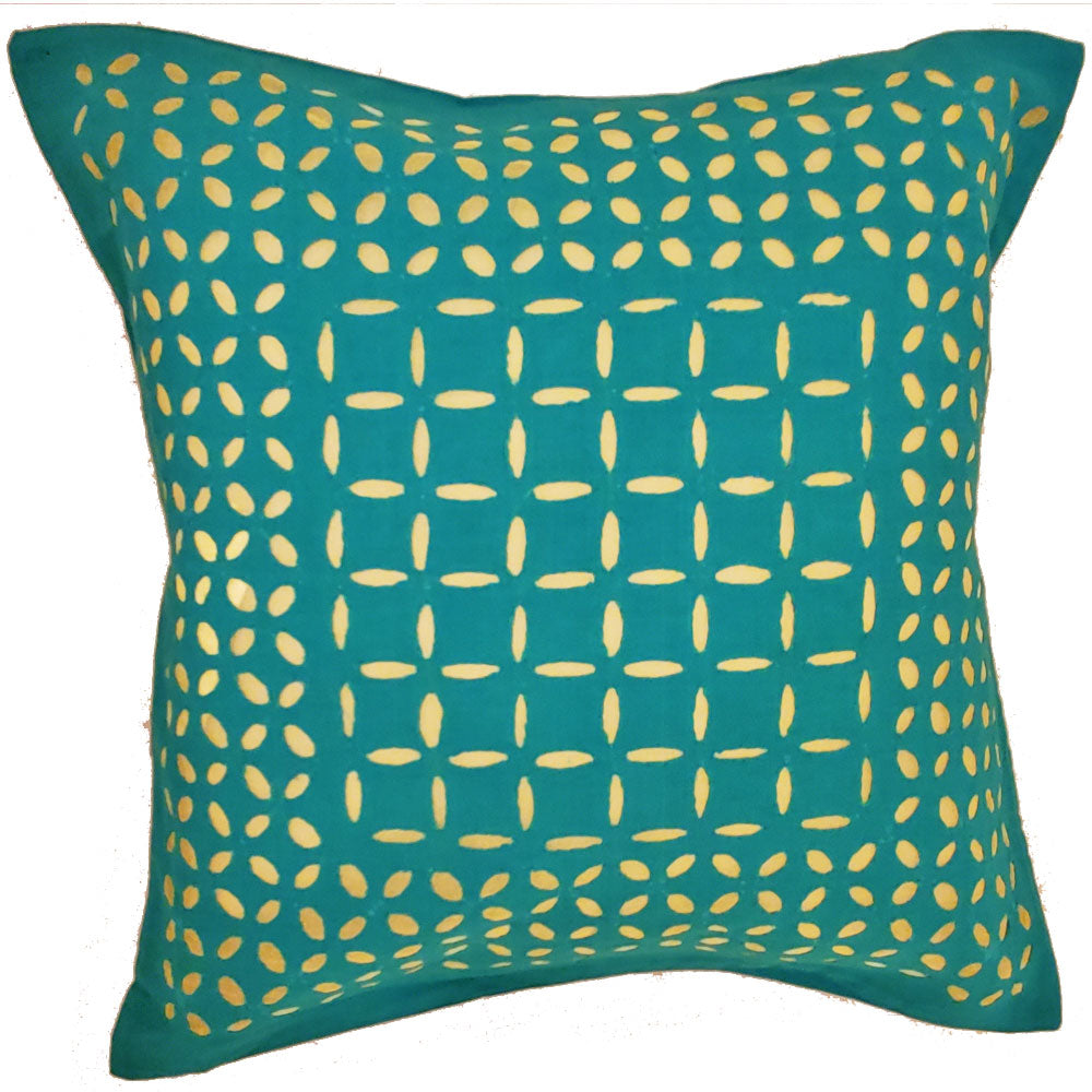 Green Indian Cushion Cover Everyday Home Accent Furnishing - 16 x 16 | @wildlotusbrand | Wild Lotus®