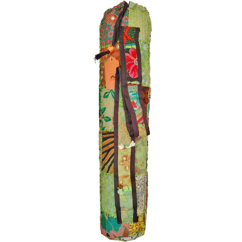 Sequin Fabric Embroidery Patchwork Pattern Yoga Mat Bag Carrier with Velcro Front Pocket | Wild Lotus® | @wildlotusbrand
