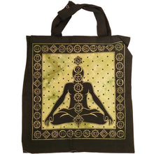 Load image into Gallery viewer, Green Seven Chakras Avatar Meditation Tie Dye Market Tote Bag Canvas Graphic | Wild Lotus®