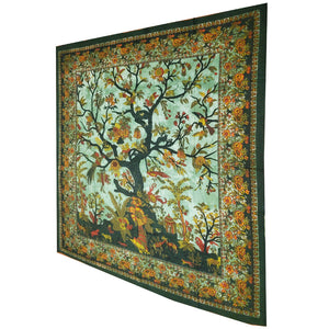 Green Tree of Life Birds Tapestry Colorful Indian Wall Decor | @wildlotusbrand | Wild Lotus®