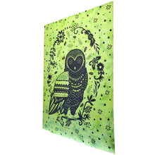 Load image into Gallery viewer, Green Trippy Owl Tapestry Wall Hanging | Wild Lotus® | @wildlotusbrand