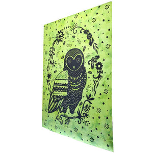 Green Trippy Owl Tapestry Wall Hanging | Wild Lotus® | @wildlotusbrand