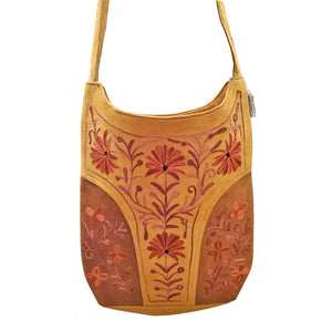 Handmade Floral Design Embroidered Leather Satchel Bag