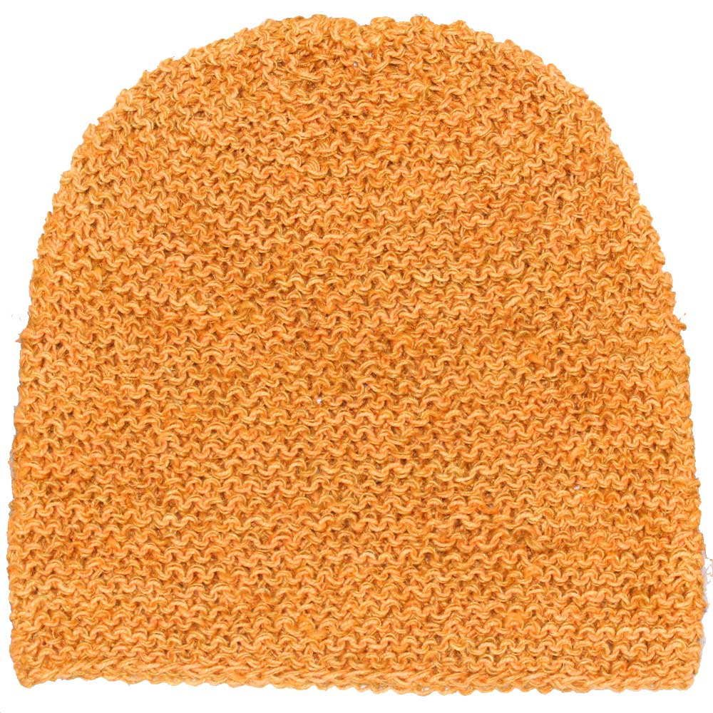 Orange Handwoven 100% Hemp Beanie Hat