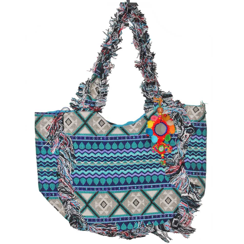 IKAT Print Cotton Fabric Fringe Pattern Tote Bag with Mirror Accessory | Wild Lotus® | @wildlotusbrand
