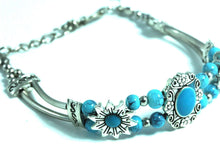 Load image into Gallery viewer, Turquoise Sweet Sunflower Boho Bracelet