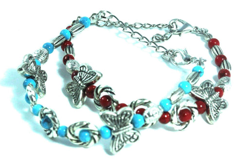 Red & Turquoise Breezy Butterfly Charm Bracelet
